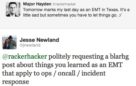 EMT, ops, oncall, incident management tweet