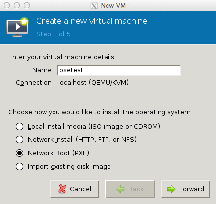 Install virtual machines with PXE using virt-manager