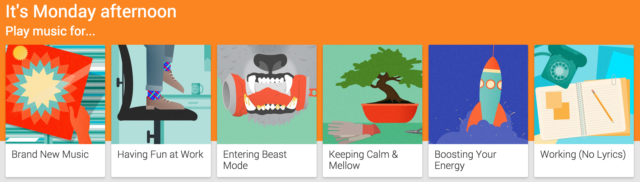 Google Play Music All Access mood selection