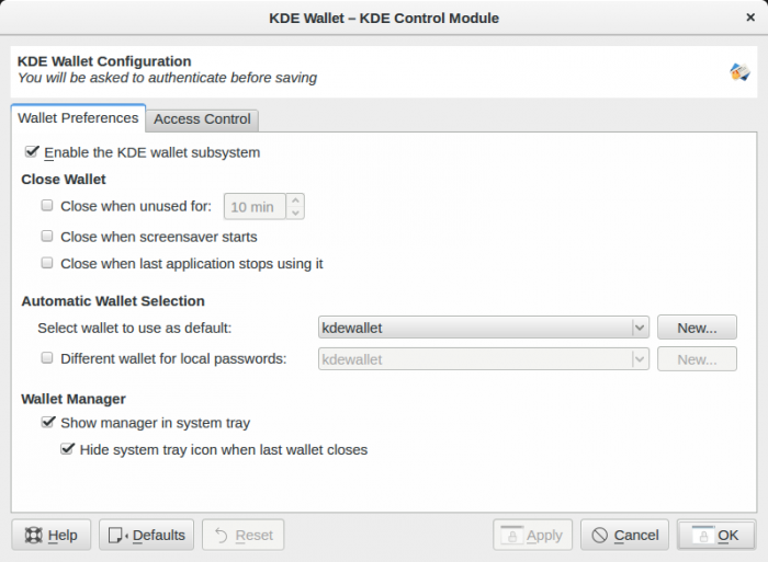 KDE wallet control module for kwallet