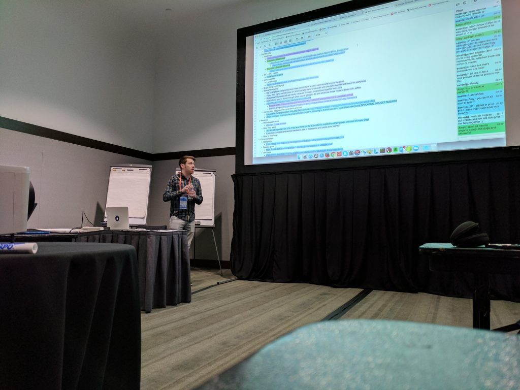 Andy McCrae leads the OpenStack-Ansible onboarding session